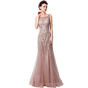 cheap Buy More, Save More-Mermaid / Trumpet Elegant Luxurious Engagement Formal Evening Dress Boat Neck Sleeveless Court Train Tulle with Beading Sequin 2020