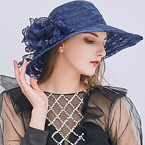 cheap Women's Sandals-Women's Kentucky Derby Cute Lace Sun Hat-Solid Colored Gray Wine Khaki