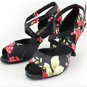 cheap Latin Dancewear-Women's Latin Shoes Heel Customized Heel Satin Multi Color / Salsa Shoes