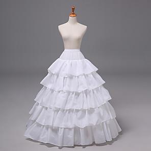 cheap Movie & TV Theme Costumes-Bride Classic Lolita 1950s Layered Dress Petticoat Hoop Skirt Crinoline Women's Girls' Tulle Costume White Vintage Cosplay Wedding Party Princess