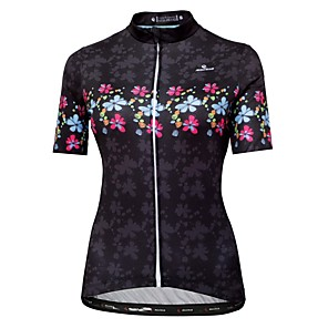 cheap Cycling Jerseys-Malciklo Women's Short Sleeve Cycling Jersey Black Floral Botanical Bike Jersey Top Mountain Bike MTB Road Bike Cycling Breathable Quick Dry Anatomic Design Sports Clothing Apparel / Micro-elastic