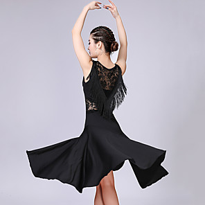 cheap Latin Dancewear-Latin Dance Dress Lace Tassel Women's Training Performance Sleeveless High Spandex Polyester