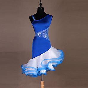cheap Latin Dancewear-Latin Dance Dress Cascading Ruffles Split Joint Women's Performance Milk Fiber