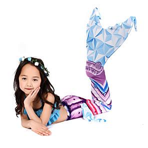 cheap Movie & TV Theme Costumes-Cosplay Costume Swimwear Bikini The Little Mermaid Mermaid Tail Aqua Princess The Little Mermaid Kid's Lycra® Cosplay Costumes Mermaid and Trumpet Gown Slip Cosplay Blue Mermaid Christmas Halloween