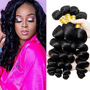 cheap Human Hair Weaves-3 Bundles Hair Weaves Brazilian Hair Loose Wave Human Hair Extensions Remy Human Hair 100% Remy Hair Weave Bundles 300 g Natural Color Hair Weaves / Hair Bulk Human Hair Extensions 8-28 inch Natural