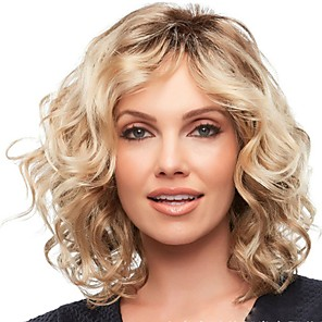 cheap Synthetic Trendy Wigs-Weave Curly Middle Part Wig Medium Length Light golden Synthetic Hair 16 inch Women's Fashionable Design Women Synthetic Brown