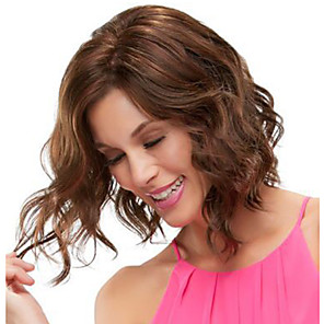 cheap Synthetic Trendy Wigs-Synthetic Wig Curly Side Part Wig Medium Length Brown / Burgundy Synthetic Hair 14 inch Women's Fashionable Design Women Synthetic Brown