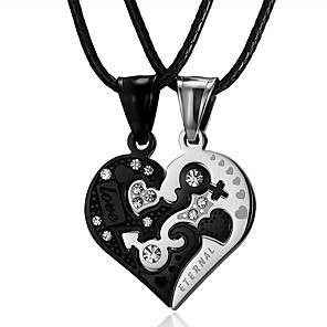 cheap Pendant Necklaces-Men's Women's Necklace Charm Necklace Relationship yin yang Stainless Steel Black 49 cm Necklace Jewelry 2pcs For Daily Holiday School Street Festival