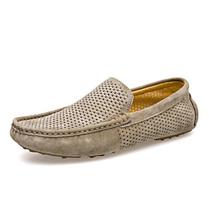 cheap Men's Slip-ons & Loafers-Men's Spring / Fall Business / Classic / Casual Daily Office & Career Loafers & Slip-Ons Pigskin Breathable Non-slipping Wear Proof Blue / Khaki / Gray