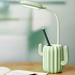 cheap Desk Lamps-Cactus Desk Lamp Fresh Green Lighten up Your Mood and Carry on with Pen Holder Desk Lamp For Bedroom Study Room Home Office Plastic <5V
