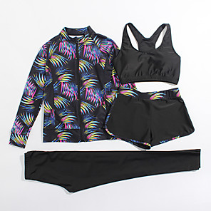 cheap Wetsuits, Diving Suits & Rash Guard Shirts-Women's Rash Guard Dive Skin Suit Elastane Diving Suit UV Sun Protection Breathable Full Body 4-Piece - Swimming Diving Water Sports Painting Summer / Stretchy
