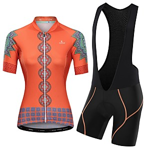 cheap Cycling Jersey & Shorts / Pants Sets-Malciklo Women's Short Sleeve Cycling Jersey with Bib Shorts Pink Orange+White Orange / Black Floral Botanical Bike Clothing Suit Breathable Quick Dry Reflective Strips Sweat-wicking Sports Floral