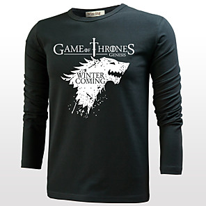 cheap Anime Costumes-Game of Thrones Cosplay Cosplay Costume T-shirt Men's Women's Movie Cosplay Cosplay Halloween Gray & Black / White / Black T-shirt Halloween Cotton
