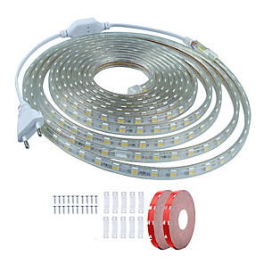 cheap LED Strip Lights-10m LED Light Strips Waterproof Tiktok Lights 600 LEDs SMD5050 1Set Mounting Bracket 1 set Warm White White Red Cuttable Decorative 220-240 V IP68