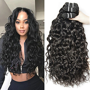 cheap Human Hair Weaves-3 Bundles Hair Weaves Brazilian Hair Water Wave Human Hair Extensions Remy Human Hair 100% Remy Hair Weave Bundles 300 g Natural Color Hair Weaves / Hair Bulk Human Hair Extensions 8-28 inch Natural