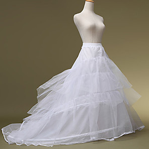 cheap Wedding Slips-Bride Classic Lolita 1950s Layered Dress Petticoat Hoop Skirt Crinoline Women's Girls' Tulle Costume White Vintage Cosplay Wedding Party Princess