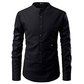 cheap Men's Sneakers-Men's Shirt Solid Colored Lace up Tops Basic Standing Collar White Black Red / Long Sleeve