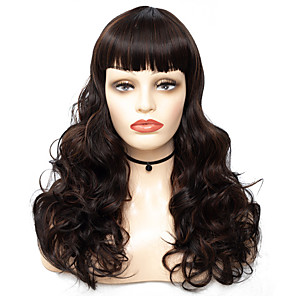 cheap Synthetic Trendy Wigs-Synthetic Wig Bangs Curly Loose Curl Neat Bang Wig Long Brown / Burgundy Synthetic Hair 22 inch Women's Fashionable Design Women Synthetic Brown