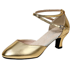 cheap Wedding Shoes-Women's Modern Shoes / Ballroom Shoes Faux Leather Ankle Strap Heel Thick Heel Dance Shoes Black / Silver Gray / Gold / Performance