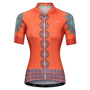 cheap Cycling Jerseys-Malciklo Women's Short Sleeve Cycling Jersey Orange Floral Botanical Bike Jersey Top Mountain Bike MTB Road Bike Cycling Breathable Quick Dry Anatomic Design Sports Clothing Apparel / Micro-elastic