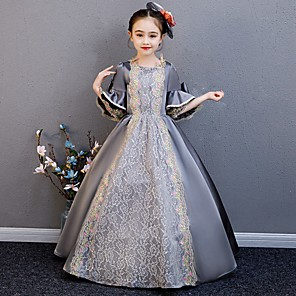 cheap Historical & Vintage Costumes-Princess Rococo Victorian Medieval Dress Outfits Costume Girls' Kid's Costume Gray Vintage Cosplay Party / Evening Birthday Party Birthday Long Length A-Line