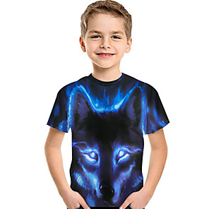 cheap Car DVD Players-Kids Toddler Boys' Active Basic Wolf Print 3D Animal Print Short Sleeve Tee Blue