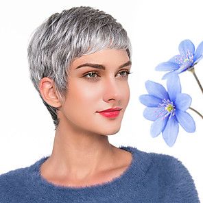 cheap Synthetic Trendy Wigs-Human Hair Blend Wig Short Natural Wave Pixie Cut Dark Gray New Comfortable African American Wig Capless Women's All Grey / For Black Women