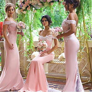 cheap Prom Dresses-Mermaid / Trumpet Off Shoulder Court Train Jersey Bridesmaid Dress with Appliques / Buttons / Open Back