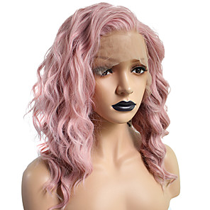 cheap Synthetic Lace Wigs-Synthetic Lace Front Wig Curly Wavy Hathaway Bob Pixie Cut Free Part Lace Front Wig Pink Short Pink Synthetic Hair 14 inch Women's Soft Women Middle Part Sew in Pink