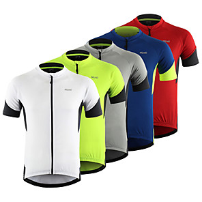 cheap Cycling Jersey & Shorts / Pants Sets-Arsuxeo Men's Short Sleeve Cycling Jersey Red Grey Green Patchwork Bike Top Mountain Bike MTB Road Bike Cycling Breathable Moisture Wicking Reflective Strips Sports Clothing Apparel / Stretchy
