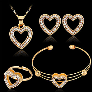 cheap Jewelry Sets-Women's Bracelet Bangles Stud Earrings Pendant Necklace Cut Out Heart Stylish Classic Rhinestone Gold Plated Earrings Jewelry Gold For Wedding Party 1 set / Open Ring