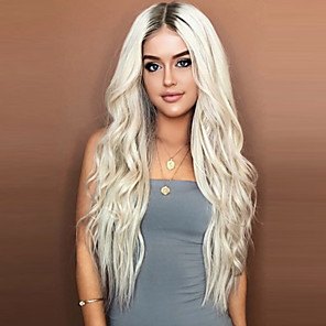 cheap Synthetic Trendy Wigs-Synthetic Wig Wavy Asymmetrical Wig Blonde Short Light golden Synthetic Hair 26 inch Women's Party Blonde
