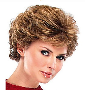 cheap Synthetic Trendy Wigs-Synthetic Wig Curly With Bangs Wig Short Light Brown Synthetic Hair 29 inch Women's Women Brown