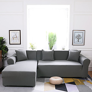 cheap Sofa Cover-Sofa Cover Stretch Solid Color 1 Piece Gray Couch Cover Cheap Slipcovers Washable Furniture Protector