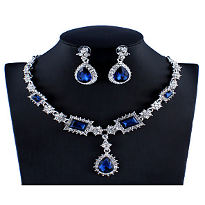 cheap Jewelry Sets-Women's Blue Red Gray Crystal Bridal Jewelry Sets Geometrical Pear Luxury Fashion Rhinestone Earrings Jewelry Red / Dark Blue / Gray For Wedding Engagement 1 set