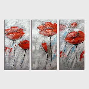 cheap Abstract Paintings-Oil Painting Hand Painted - Abstract Floral / Botanical Modern Stretched Canvas / Three Panels