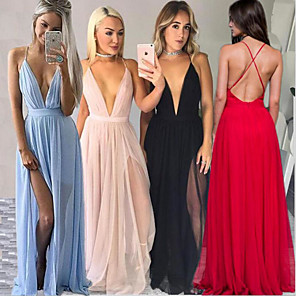 cheap Special Occasion Dresses-A-Line Sexy Blue Holiday Party Wear Dress V Neck Sleeveless Sweep / Brush Train Chiffon with Split Front 2020