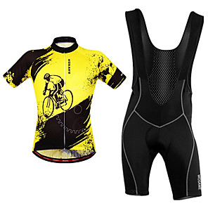 cheap Cycling Jersey & Shorts / Pants Sets-WOSAWE Men's Cycling Jersey with Bib Shorts Black / Yellow Bike Bib Shorts Jersey Clothing Suit Breathable Moisture Wicking Reflective Strips Back Pocket Sports Polyester Painting Mountain Bike MTB