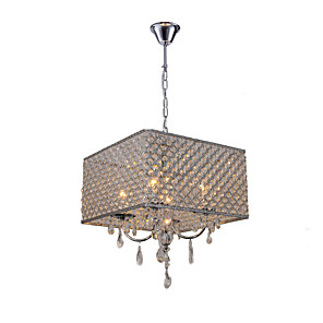 """cheap Candle-Style Design-QINGMING® 4-Light 43(17"""") Crystal Chandelier Metal Drum Painted Finishes Modern Contemporary 110-120V / 220-240V"""