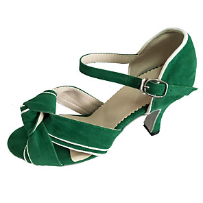 cheap Latin Shoes-Women's Dance Shoes Leather Latin Shoes Heel Flared Heel Customizable Green