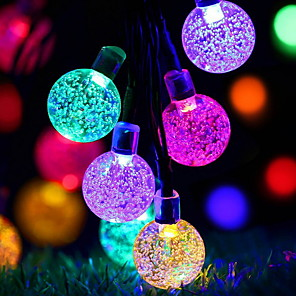 cheap LED String Lights-6.8m String Lights Outdoor String Lights 30 LEDs 1 set Multi Color Decorative Solar Powered