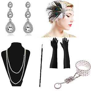 cheap Costumes Jewelry-Necklace Earrings Bracelet Costume Accessory Sets Gloves Necklace Retro Vintage 1920s The Great Gatsby Artificial feather For The Great Gatsby Cosplay Halloween Carnival Women's Costume Jewelry
