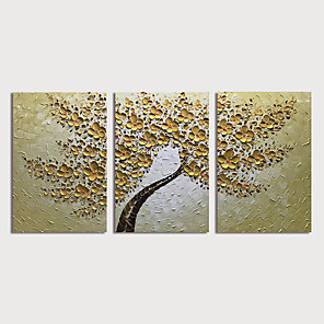 cheap Floral/Botanical Paintings-Oil Painting Hand Painted - Floral / Botanical Modern Stretched Canvas / Three Panels
