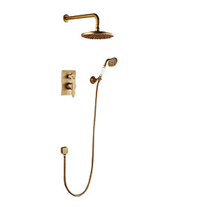 cheap Shower Faucets-Retro Shower Faucet Antique Copper Wall Mounted Thermostatic Ceramic Valve Bath Shower Mixer Taps