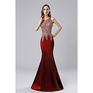 cheap Evening Dresses-Mermaid / Trumpet Chinese Style Prom Formal Evening Dress Jewel Neck Sleeveless Floor Length Taffeta with Appliques 2020
