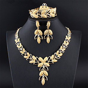 cheap Jewelry Sets-Women's Silver Gold Bridal Jewelry Sets Link / Chain Leaf Botanical Vintage Earrings Jewelry Gold / Silver For Wedding Engagement Gift 1 set