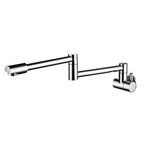 cheap Kitchen Faucets-Kitchen faucet - Single Handle One Hole Chrome Pot Filler Wall Mounted Contemporary Kitchen Taps