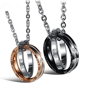 cheap Pendant Necklaces-Men's Women's Clear Cubic Zirconia Pendant Necklace Two tone Love Fashion Titanium Steel Rose Gold Black 50 cm Necklace Jewelry 1pc For Gift Daily