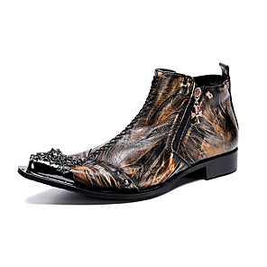 cheap Clutches & Evening Bags-Men's Novelty Shoes Fashion Boots Spring & Summer British Wedding Party & Evening Boots Nappa Leather Breathable Handmade Booties / Ankle Boots Dark Brown Color Block