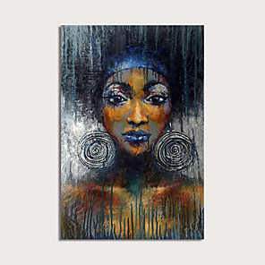 cheap Framed Arts-Oil Painting Hand Painted - Abstract People Modern Stretched Canvas